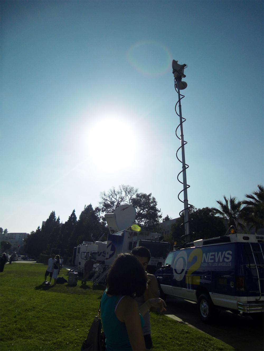 Media vans converge at UCLA